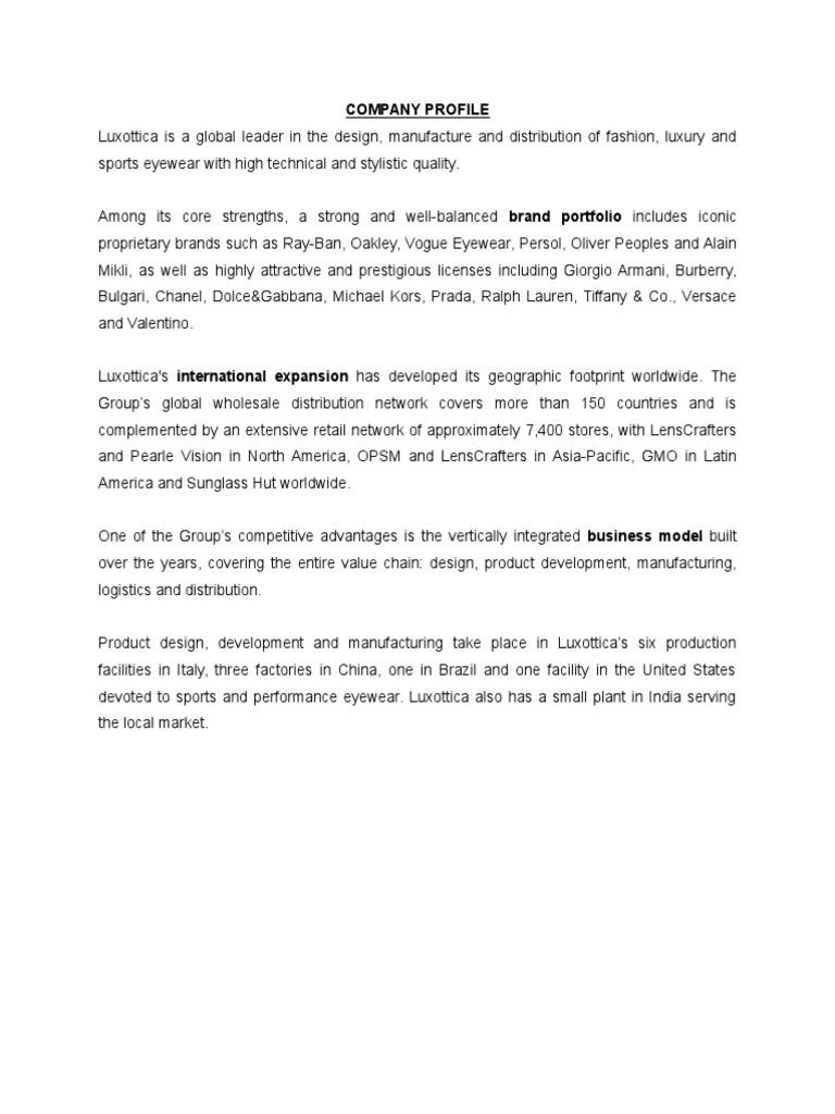 Company Profile Luxottica | Investing | Dividend