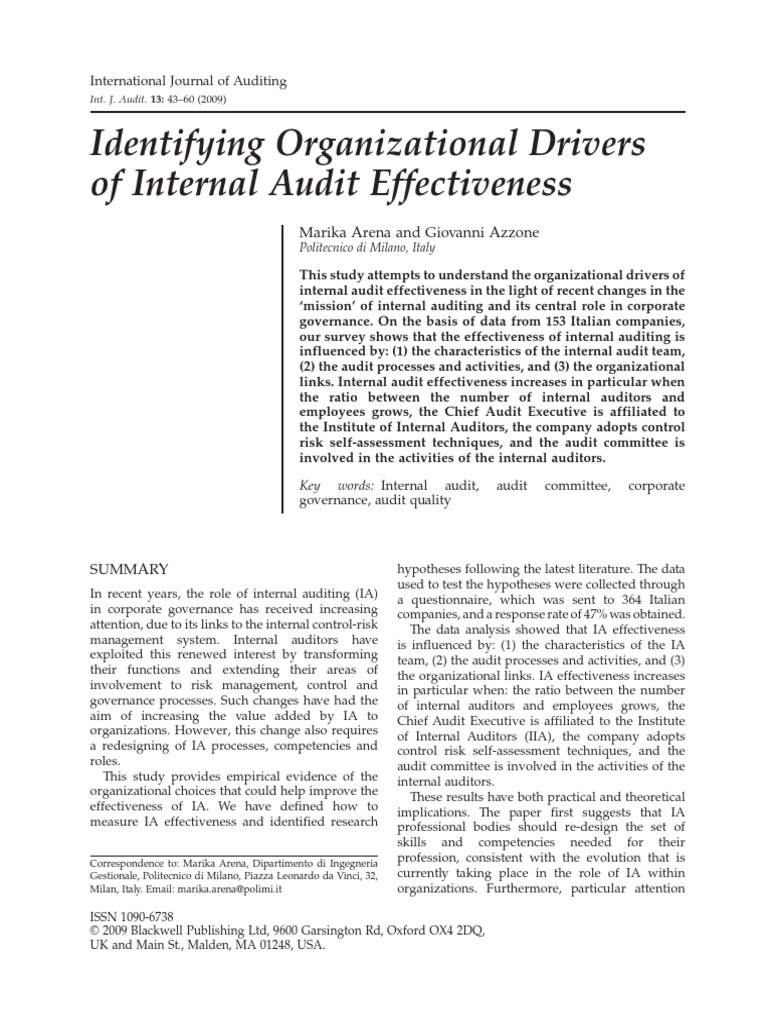 Arena Azzone 2009 Internal Audit Audit