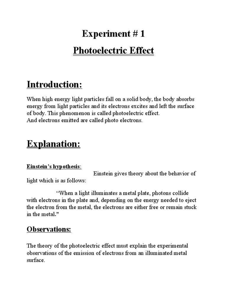 photoelectric effect lab report conclusion