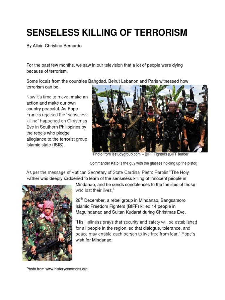 senseless killing of terrorism   Mindanao   Islamic State Of Iraq ...