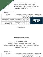 Jadwal Dinas Bagian Obstetri Dan Ginekologi Fk Umi Periode 3 Oktober 2016