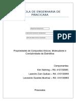 Propriedades de compostos iônicos, moleculares e condutividade de eletrólitos