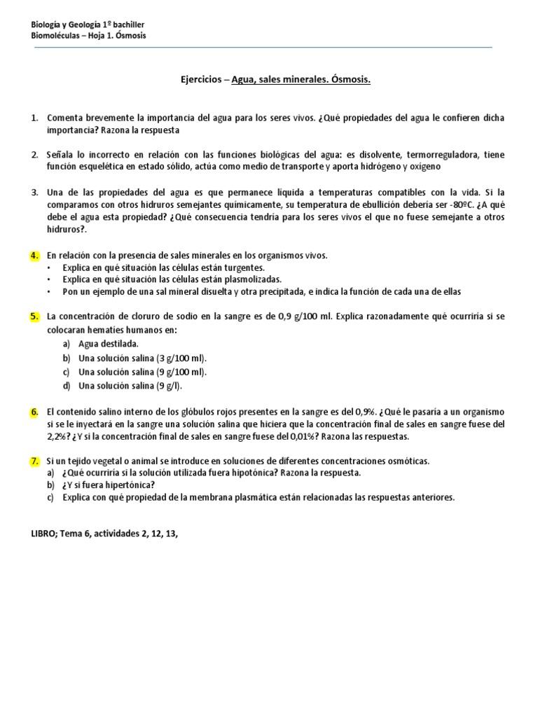 Vistoso ósmosis Inversa Y La Tonicidad De Hoja De Cálculo ...