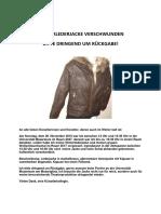 Winterlederjacke Entwendet - Bitte Dringend Um Rückgabe!