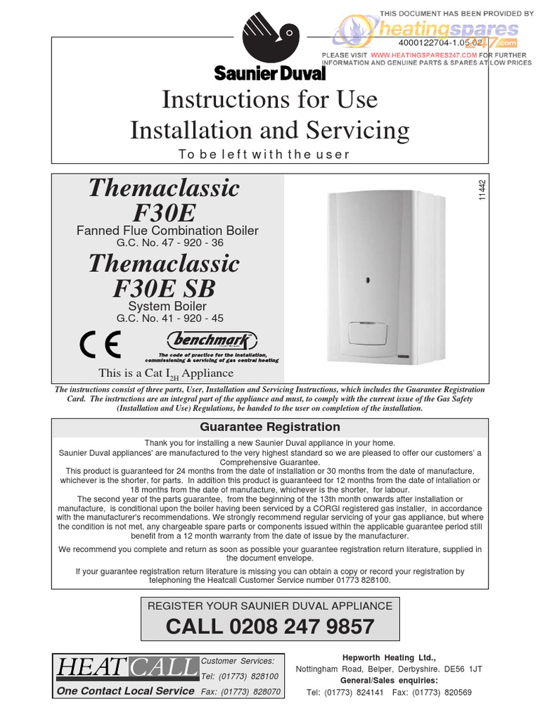 Themaclassic F30E and F30E SB Instructions for Use Installation and ...