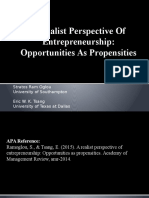A Realist Perspective of Entreprenuership Opportunities as Propensities