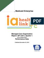 Iowa Medicaid Enterprise Managed Care Organization Report