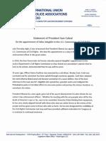 Statement of President Sam Cabral Re Adgebile