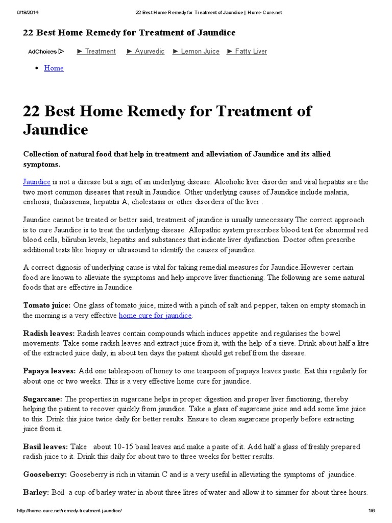 Best Home Remedy For Treatment Of Jaundice Home Curepdf - Best home remedies for jaundice its causes and symptoms