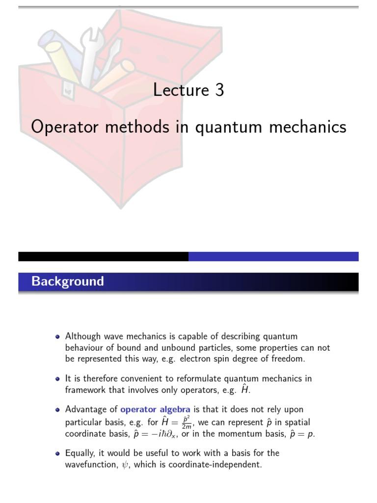Operator lesson PowerPoint pdf | Wave Function | Quantum Mechanics