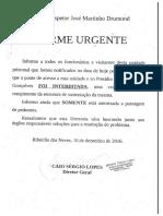 COMUNICADO DO DIRETOR DO PRESÍDIO INSPETOR JOSÉ MARTINHO DRUMOND