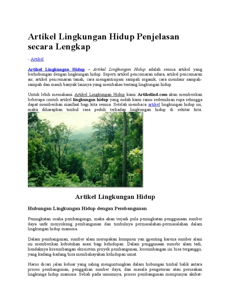 Artikel Lingkungan Hidup Penjelasan Secara Lengkap