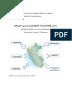 Balance de Energia en El Peru 2012