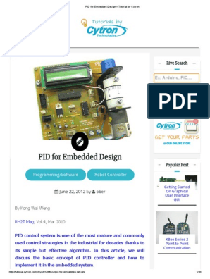 Pid For Embedded Design Tutorial By Cytron Pdf Systems Science Control Engineering