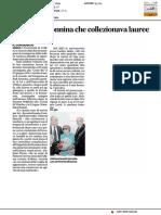 Addio alla nonnina che collezionava lauree - Il Corriere Adriatico del 17 dicembre 2016