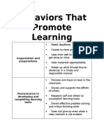 behaviors that promote learning
