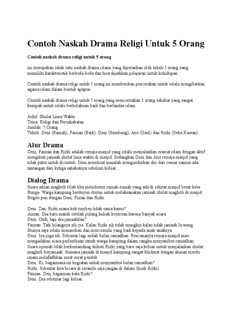 Kumpulan Gambar Contoh Teks Drama Lucu Untuk Anak Sd