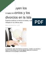 Disminuyen Los Matrimonios y Los Divorcios en La Isla
