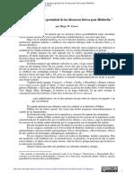 Cowes, H. Sobre La Supuesta Gratuidad de Los Discursos Líricos Post-Hölderlin