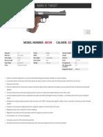 Ruger Mark IV Target Pistol Model# 40159 Specs