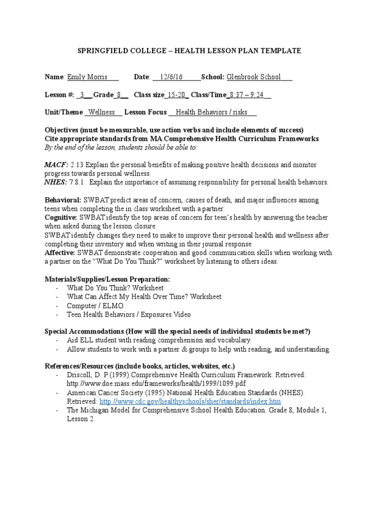 Health And Wellness Worksheets For Students Pdf