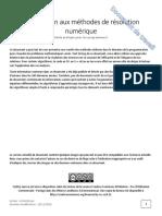 Introduction aux méthodes de résolution numérique