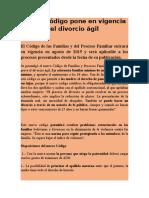 4.- Nuevo Codigo Pone en Vigencia El Divorcio Agil