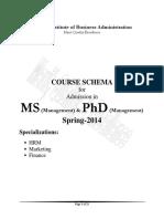 Course Schema MS&PhD (Managment) Program Spring-2014 Dec-7-2014 Final