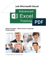 Advanced Microsoft Excel Brochure