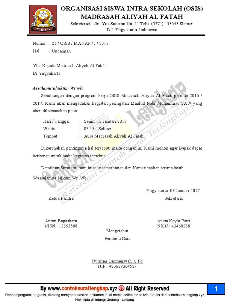 contoh surat dinas osis smp dan sma