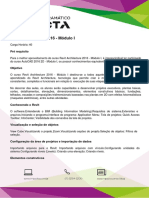 Conteúdo Programático - Revit Architecture 2016 - Módulo I