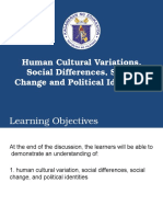 Lesson 1 Human Cultural Variations, Social Differences,Social Change and Political Identities
