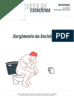 [SOCIOLOGIA_2016.03.04] Lista de exercício_Surgimento da Sociologia