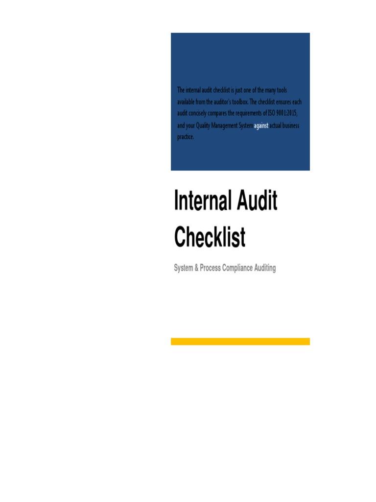 ISO 9001 2015 Internal Audit Checklist Sample | Internal Audit | Audit