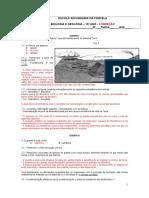 Bio e Geo - Ficha Formativa - 1ª Unidade Geologia - Correção