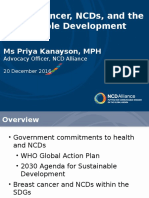 Webinar presentation of Priya Kanayson of NCD Alliance on breast cancer and SDGs