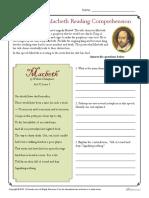 Shakespeares Macbeth Reading Comprehension