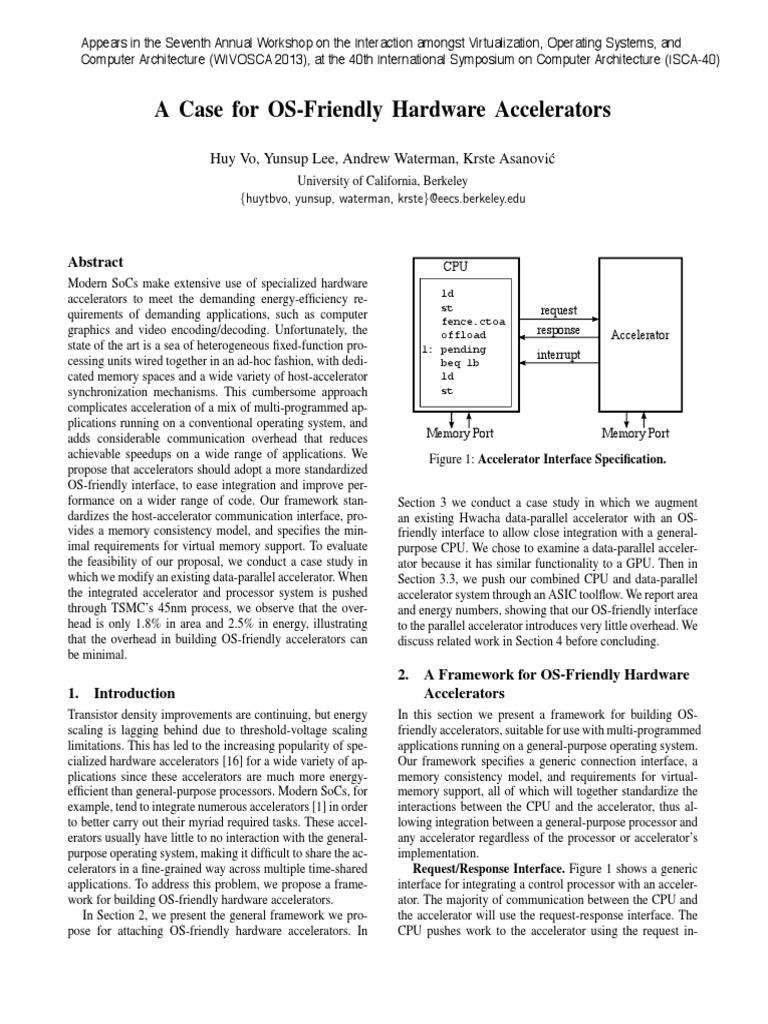 A Case for OS-Friendly Hardware Accelerators   Central Processing Unit    Instruction Set