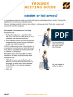 Tool Box Meeting Guide - Fall Arrester or Protection