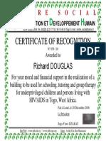 N Réf 056 2016 Certificat de Reconnaissance Richard Anglais