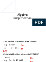 Algebra Support- Simpl;Ifying, Expanding and Factorising