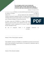 Carta de Autorización y Exclusión de Responsabilidades