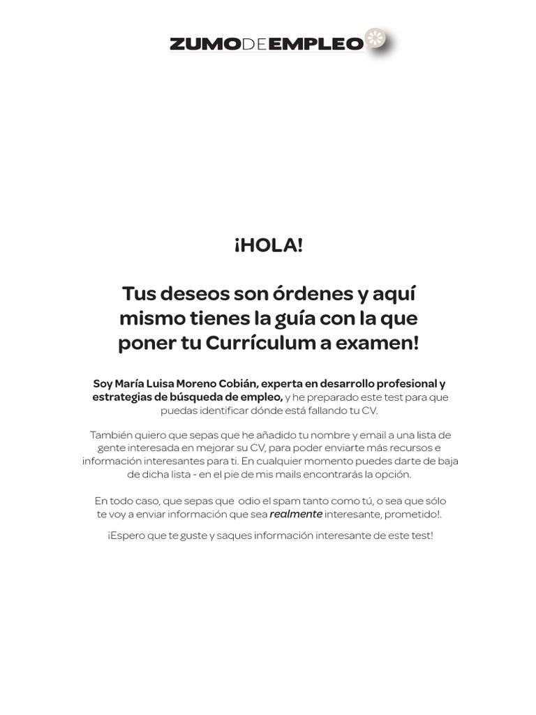 Test sobre Curriculum Vitae