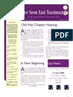 Nee Soon East Toastmasters Club Newsletter - May