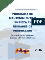 Programa de Mantenimiento y Limpieza de Unidades de Produccion 2016