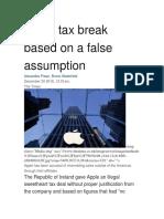 Apple Tax Break Based on a False Assumption