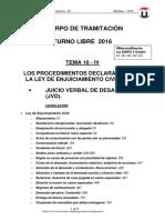 Tema 16 Proc Declarativo IV -Jvb Desahucio- 2016 6-Oct T-libre