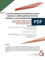 Ley de la tendencia descendente de la tasa de ganancia y su validez explicativa de las crisis económicas