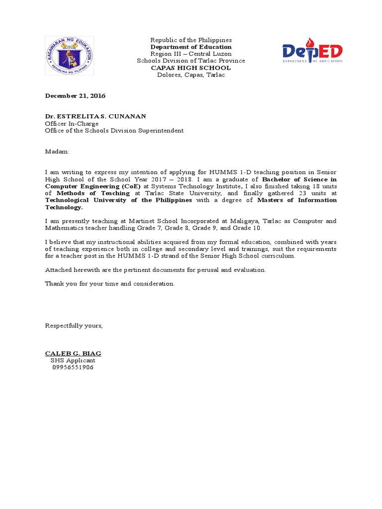 letter of intent deped - Teacher Resume Letter Of Intent