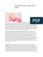 Berbagai Cara Menambah Berat Badan Bayi Menjadi Lebih Ideal